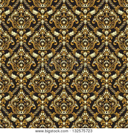 Gold shining vintage seamless pattern background