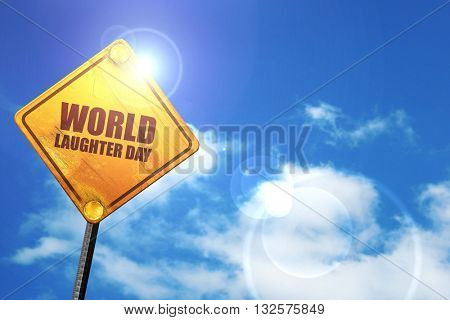 world laughter day, 3D rendering, glowing yellow traffic sign