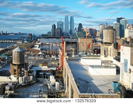 Manhattan rooftops on the west side with the Hudson river view