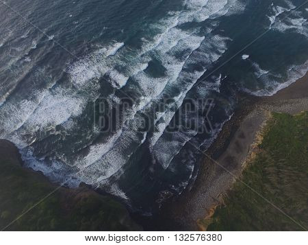 arial shot of ocean tides in tillamook oregon