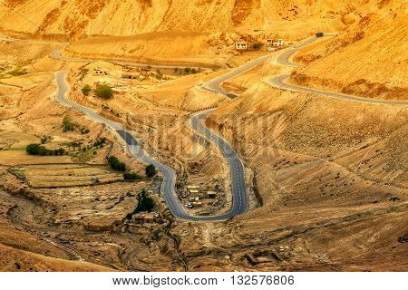 Aerial view of Zigzag road - famously known as jilabi road at old route of Leh Srinagar Highway Ladakh Jammu and Kashmir India