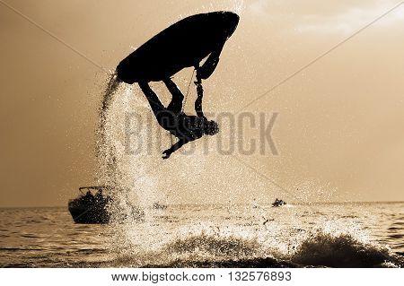 Water sports, Jetski Freestyle back and white.