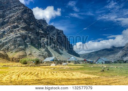 Sceneic view of Drass village with blue cloudy sky background Kargil Ladakh Jammu and Kashmir India