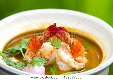 Tom Yum Goong - Thai hot and spicy soup with shrimp - Thai Cuisine,The food of a luxury hotel.