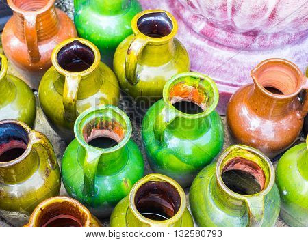 close up Group of Colorful ceramic vase.