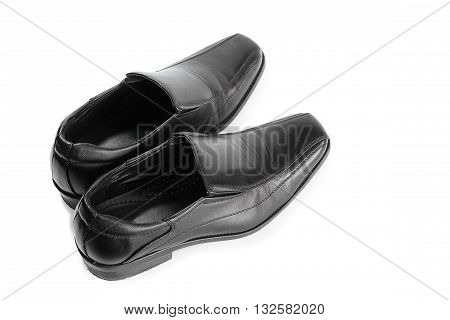 black leather shoe isolated on white background Rear view black shoes.( select focus front shoe )