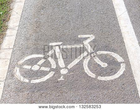 Bicycle symbol on street bike lane road for bicycles(select focus symbol Bicycle)