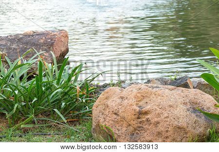 select focus front stone in Garden River seat view nature. Reflections shine on the River blur blurred River background.