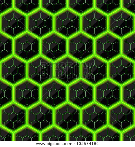 Hexagons of black stone with green hot streaks of energy. Seamless texture. Technology seamless pattern. Geometric background.