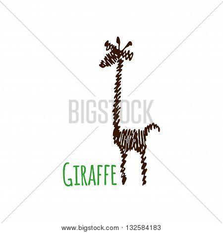 Scribble isolated giraffe silhouette on white background. Giraffe logo.