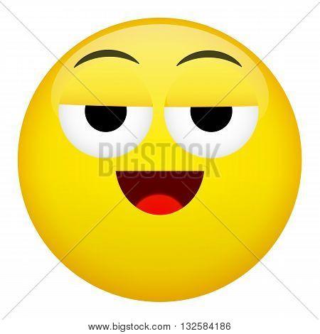 Drunken or tired smile laugh emotion. Emoji illustration.