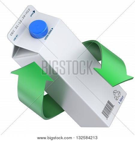Milk or juice carton package with green recycle arrows - 3D concept