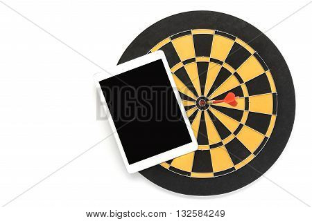 dart target on bullseye with blank black tablet screen over white background with copy space Goal target success wealth business investment financial strategy education concept abstract background