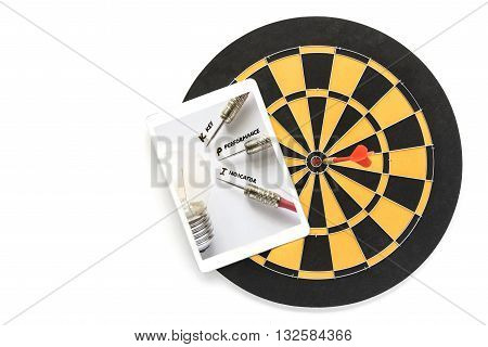 KPI key performance indicator with idea bulb lamp target on tablet screen over dart target in bullseye on dartboard Smart goals concept for success business