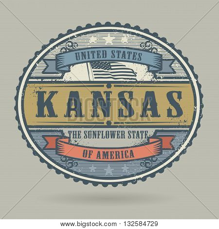 Vintage stamp or label with the text United States of America, Kansas, vector illustration