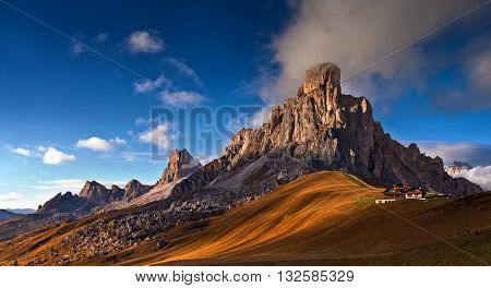 view from pass Giau - Dolomites Italy, autumn shot, late afternoon