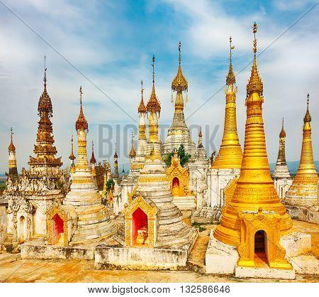Buddhist temple Thaung Tho on Inle Lake. Myanmar.
