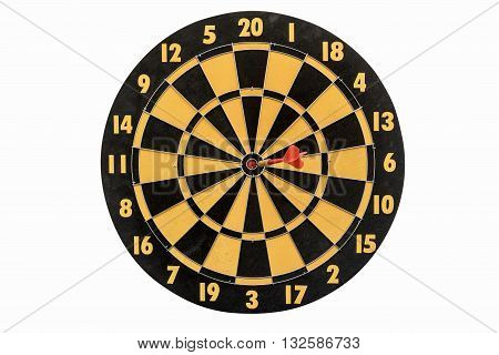 dart target hitting in bullseye on dartboard isolated on white background include clipping path abstract backgroud for success business education marketing and goals