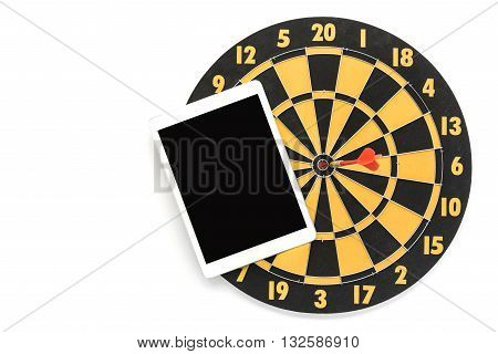 dart target on bullseye with blank black screen tablet on white background with copy space Goal target success business investment financial strategy education concept abstract background