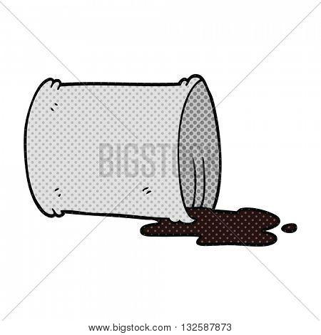 freehand drawn cartoon spilled oil drum
