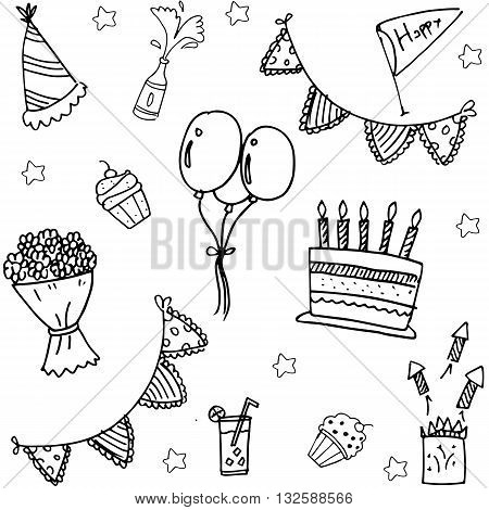 childrens party doodle vector art hand draw