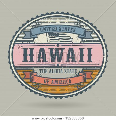 Vintage stamp or label with the text United States of America, Hawaii, vector illustration