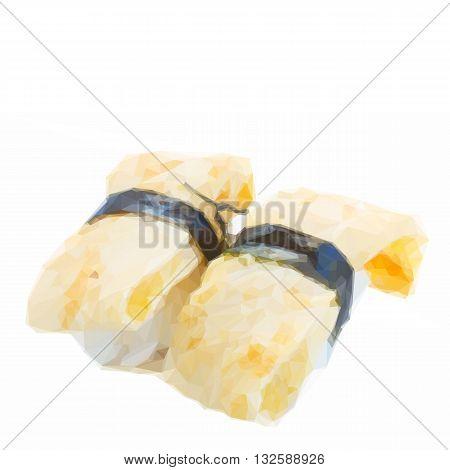 Low poly illustration of fresh tamago sushi