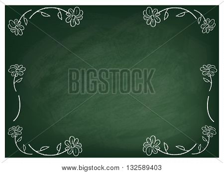 Background Pattern Cute Flowers on Green Chalkboard Background or Texture with Copy Space for Text Decorated.