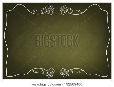 Background Pattern Luxury Flower Frame on Green Chalkboard Background or Texture with Copy Space for Text Decorated.