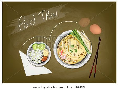 Thai Cuisine Pad Thai or Thai Stir Fried Noodles on Green Chalkboard. One of The Most Popular Dish in Thailand.