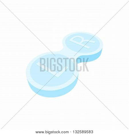 Closed contact lens case icon in cartoon style on a white background