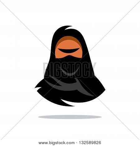 Girl in Burqa. Isolated on a White Background