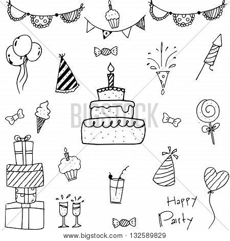 Collection bithday of doodle vector art illustration