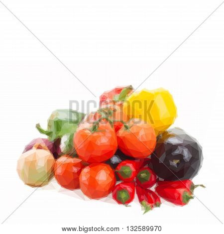 Low poly illustration bunch of colorful raw vegetables - tomatoes, onion, peppers, pumpkin and eggplant