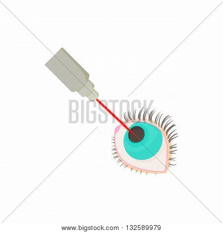 Needle in an eyeball icon in cartoon style on a white background