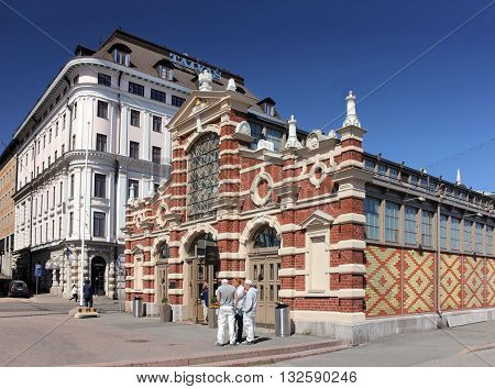 HELSINKI FINLAND - MAY 27 2016: The Old Market Hall - popular tourist attraction in the center of town near famous Market Square. Was built in 1888 the first indoor hall in Helsinki. May 27 2016.