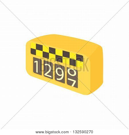 Meter taxi icon in cartoon style on a white background