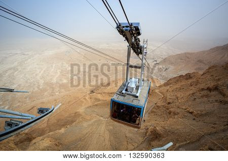 Cable Car Going To Famous Masada, Dead Sea Region