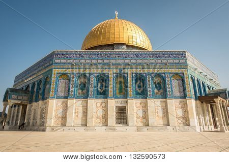 Dome Of The Rock Mosque On Temple Mount In Jerusalem