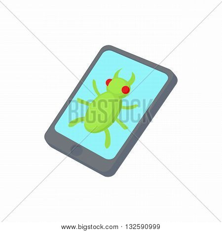 Infected smartphone icon in cartoon style on a white background