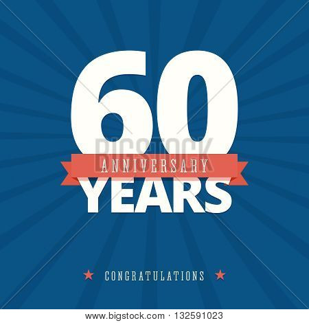 60 year anniversary card, poster template. Vector illustration in flat, retro style.