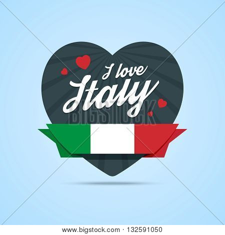 I love Italy badge. Heart shape with ribbon with Italy flag. Vector illustration in flat style.