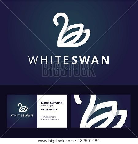 White swan logo and business card template. Swan sign in line, flat style with overlapping effect. Vector illustration.