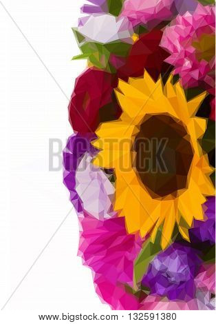 Low poly illustration mixed autumn flowers background