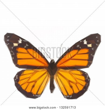 Low poly illustration of Orange monarch butterfly
