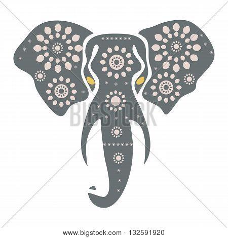 Vector illustration of an elephant head. The stylized head of an elephant in the festive patterns. Vector flat for print. Ethnic,tribal vector illustration.
