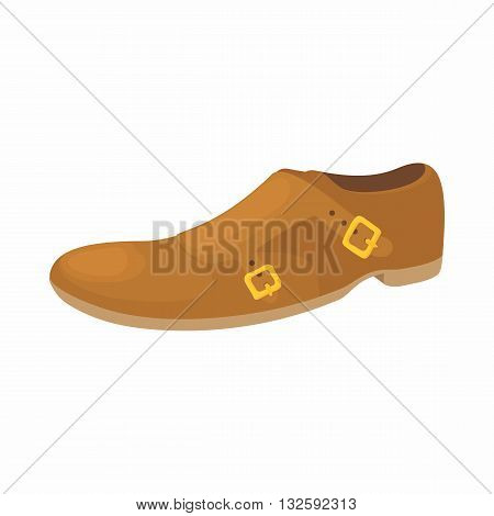 Brown leather shoe icon in cartoon style on a white background