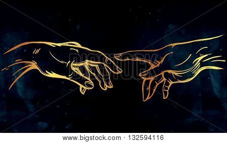 God and Adams hands. Creation of Adam. Genesis Hands . Hope faith and help, assistance and support in religion. Isolated vector illustration. Tattoo design, spiritual symbol for your use.
