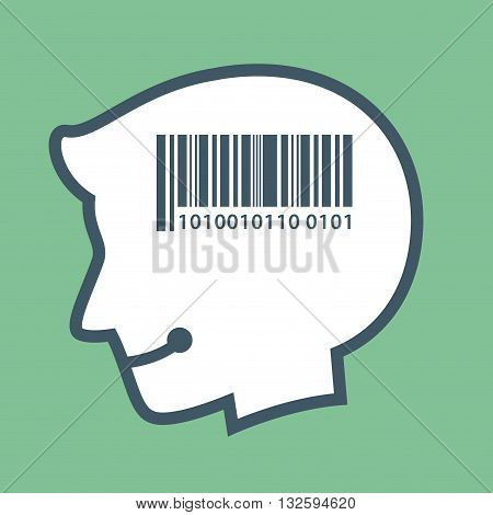 Vector stock of human head silhouette with barcode sign inside