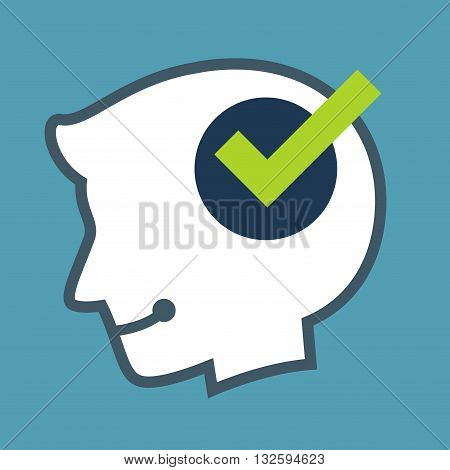 Vector stock of human head silhouette with check mark icon inside